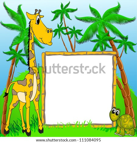 illustration background giraffe and terrapin on background of the palms