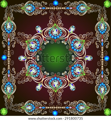 illustration background with a circular gold ornaments with precious stones - stock photo