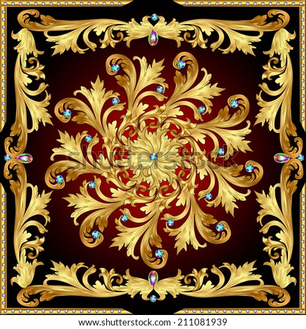 illustration background with a rosette of gold and precious stones