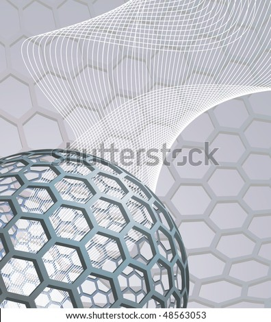 illustration background with buckyball or buckminsterfullerene and abstract mesh wave graphic - stock photo