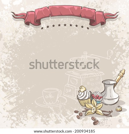 Illustration background with coffee, vanilla flower and cupcakes.