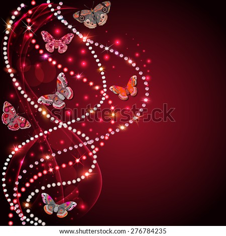 illustration background with flowers and butterflies with gems - stock photo