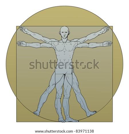 Illustration based on Leonardo da Vinci's classic Vitruvian man - stock photo