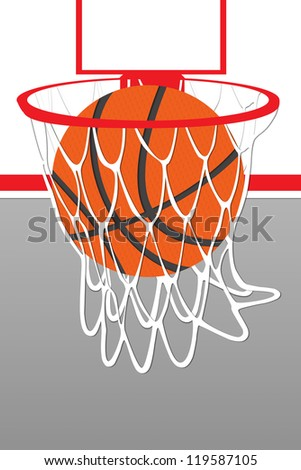 Illustration basketball hoop and ball - stock photo