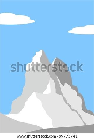 Illustration - Beautiful peak in Alps - mountain landscape - stock photo