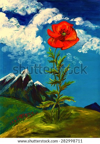 illustration beautiful poppy flower in mountains acrylic painting - stock photo