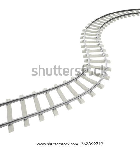 Illustration bend, turn railroad isolated on white background. 3d high resolution image - stock photo
