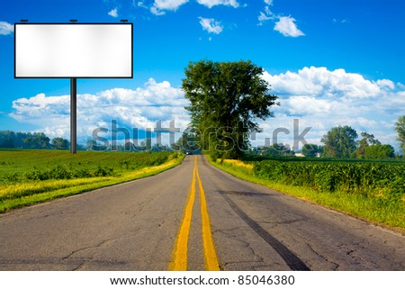 Illustration: Big Tall Billboard on road - stock photo