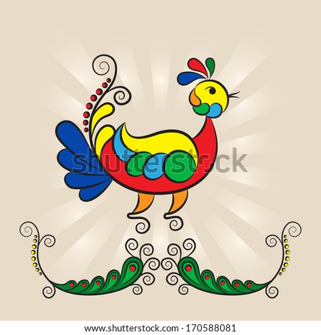 illustration birds on a branch in the style of Russian Folk Art - stock photo