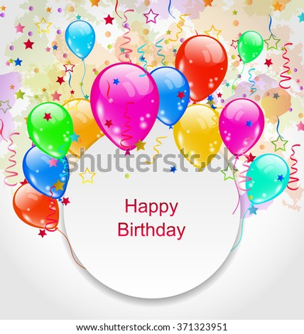 Illustration Birthday Celebration Card with Colorful Balloons - raster - stock photo
