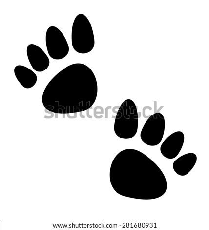 Illustration black animal paws print isolated on white background - raster - stock photo