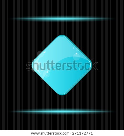 Illustration blue glossy blank web button with reflection - raster - stock photo