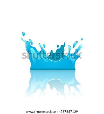 Illustration blue water splash crown with reflection, isolated on white background - raster - stock photo