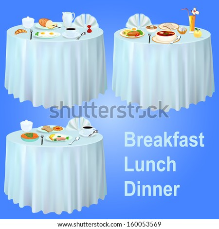 illustration Breakfast lunch dinner on the table with a tablecloth - stock photo