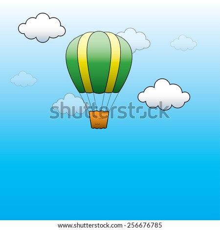 illustration. Bright Hot Air Balloon flying in the blue sky - stock photo