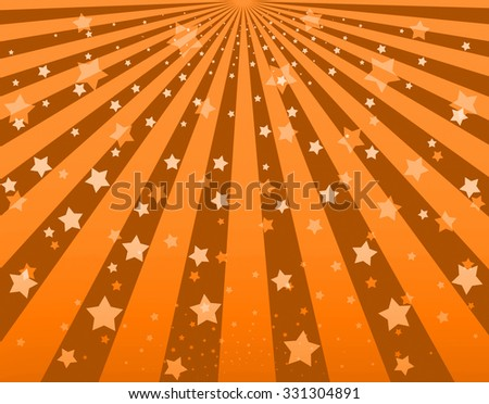 Illustration bright sunbeams. Bright sunbeams on orange background. Abstract bright background with stars - stock photo