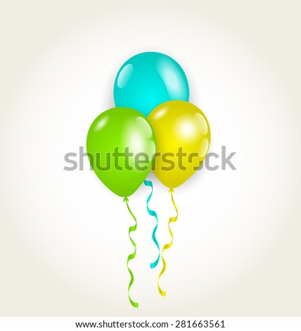 Illustration bunch party balloons for your birthday - raster