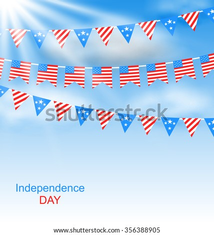 Illustration Bunting Flags Pennants in Traditional American Colors for Independence Day - raster - stock photo