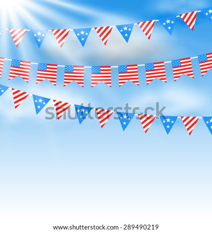 Illustration Bunting Garlands in Traditional American Colors for Independence Day - raster - stock photo