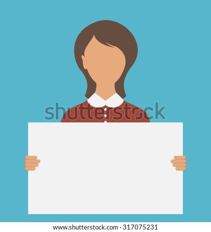 Illustration Business Woman Holding Big Blank Paper Banner - raster - stock photo