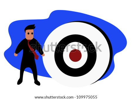 Illustration - Businessman and target of business. - stock photo