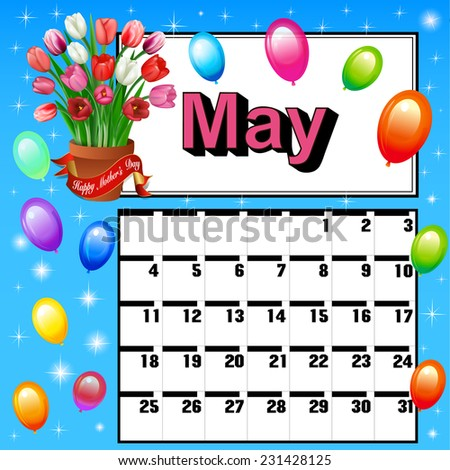 illustration calendar for May, Mother's Day flowers and balloons - stock photo