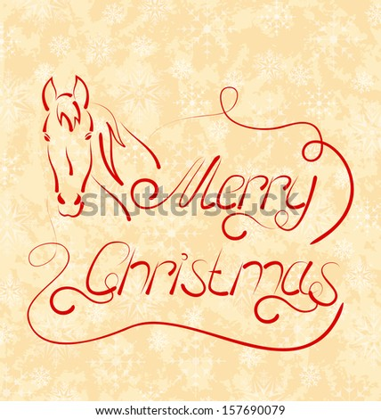Illustration calligraphic Christmas lettering with horse - raster - stock photo