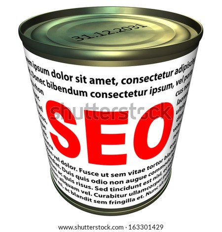 Illustration can of instant SEO (search engine optimization). Isolated on white background.