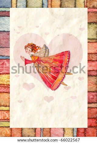 Illustration card with Christmas angel - stock photo
