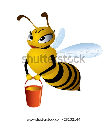 Illustration cartoon bees gathering honey