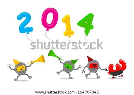illustration cartoon character clip art of new year celebration 2014 - stock photo