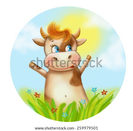 Illustration cartoon funny Happy cow