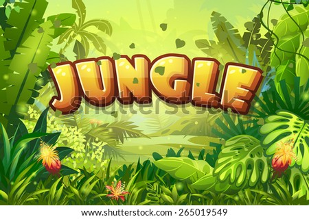 Illustration cartoon jungle with inscription and ribbon - stock photo