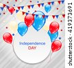 Illustration Celebration Card with Balloons and Hanging Bunting Pennants in American Flag Colors for Independence Day - raster - stock vector