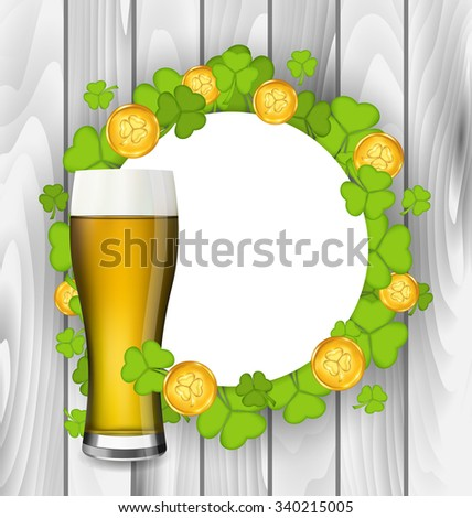 Illustration celebration card with glass of light beer, shamrocks and golden coins for St. Patrick's Day, wooden background - raster - stock photo