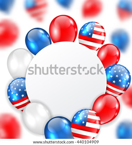 Illustration Celebration Clean Card with Balloons in American National Colors - raster