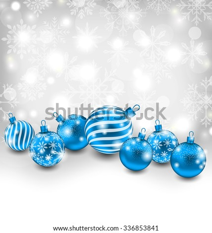 Illustration Christmas Abstract Shimmering Background with Blue Balls, Lighten Wallpaper - raster - stock photo