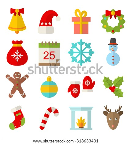 Illustration Christmas and Winter Traditional Symbols, Minimalism Style - raster