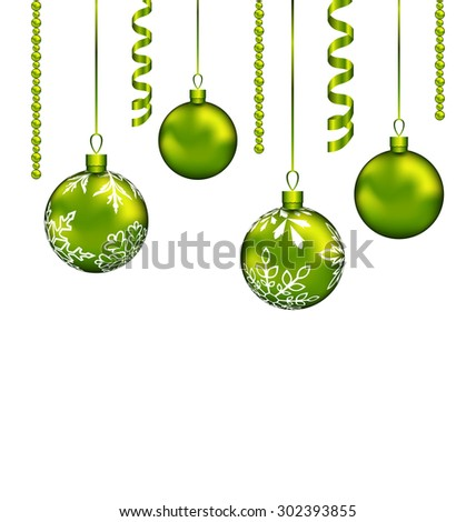 Illustration Christmas balls with streamer and copy space for your text - raster - stock photo