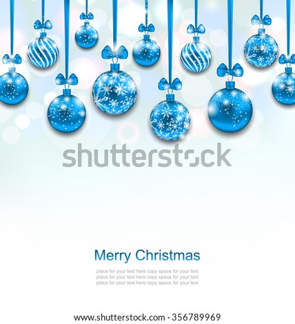 Illustration Christmas Blue Glassy Balls with Bow Ribbon, Shimmering Light Background - raster - stock photo