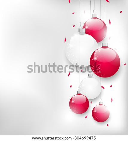 Illustration Christmas card with colorful glass balls and tinsel - raster - stock photo