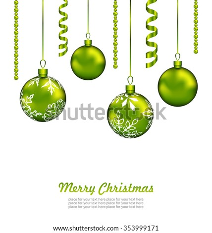 Illustration Christmas Card with Green Balls and Streamer, Isolated on White Background - raster