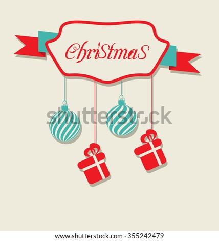 Illustration Christmas celebration card with hanging balls and gifts - raster