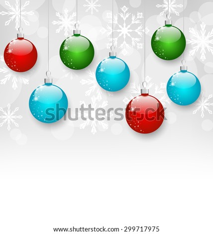 Illustration Christmas colorful balls with copy space - raster - stock photo