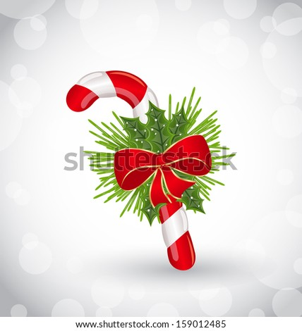 Illustration Christmas decoration with sweet cane, bow and pine - raster - stock photo