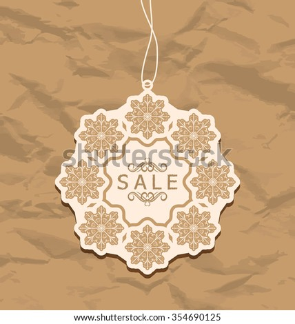 Illustration Christmas discount label, vintage style - raster - stock photo