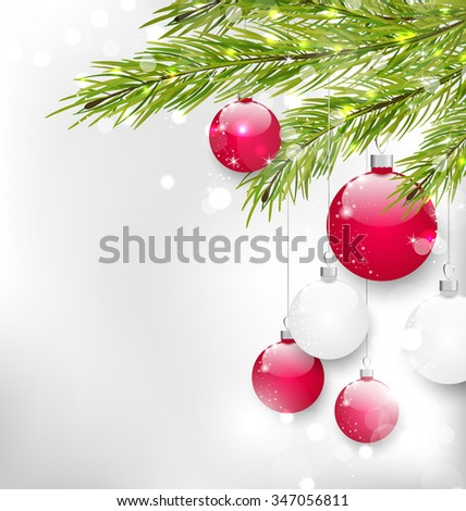 Illustration Christmas Glitter Card with Fir Branches and Glass Balls, - raster - stock photo