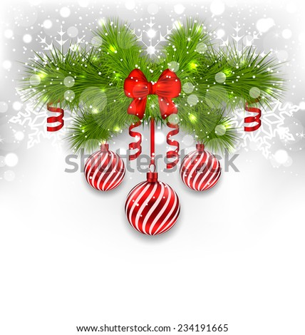 Illustration Christmas glowing background with fir branches, glass balls, ribbon bow, streamer - stock photo
