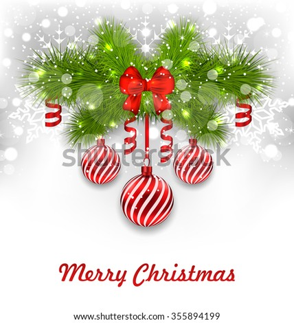 Illustration Christmas Glowing Greeting Background with Fir Branches, Glass Balls, Ribbon Bows, Streamer - raster - stock photo