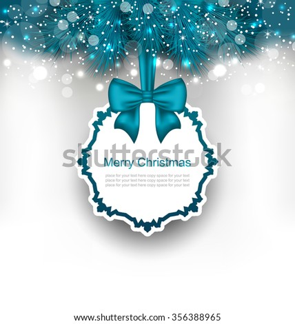 Illustration Christmas Greeting Card with Bow Ribbon and Fir Branches - raster - stock photo